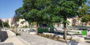 Detalle de pavimento táctil y vegetación delimitadores de zonas de juego