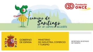 Imagen promocional del Camino de Santiago Accesible con los logos de Fundación ONCE y el Ministerio de Industria, Comercio y Turismo
